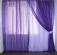 Комплект штор из шифона. Цвет фиолетовый с сиреневым 011дк