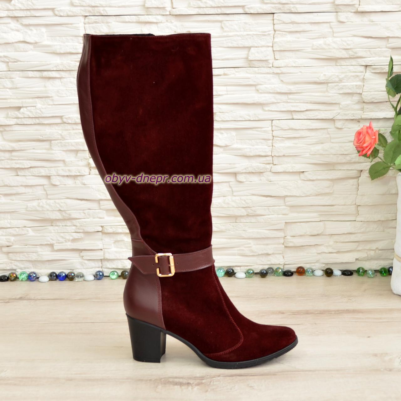 Женские бордовые сапоги на невысоком каблуке, натуральная кожа и замша