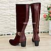 Женские бордовые сапоги на невысоком каблуке, натуральная кожа и замша, фото 4