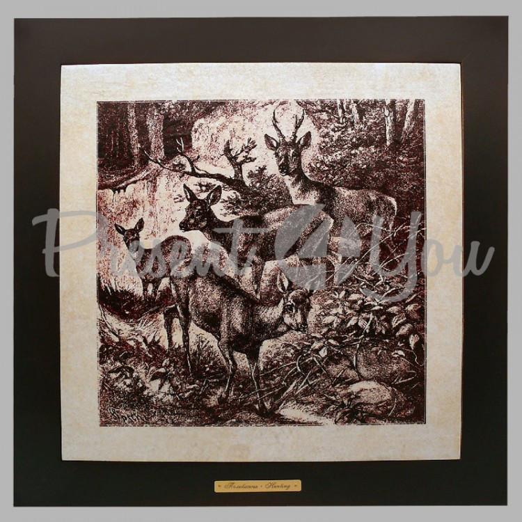 Панно настенное «Охота. Олени», 33х33, 41х41 см. (262-1814B)