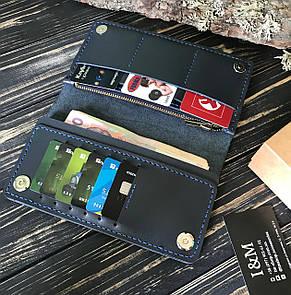Большой кошелек БрадВей с карманом на змейке 283009 - синий, фото 2