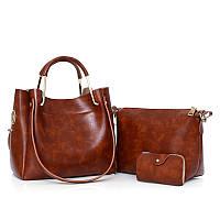 Женская сумка 3в1 среднего размера коричневая из экокожи