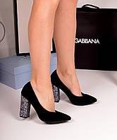Туфли блестящий каблук натуральный замш черные, фото 1