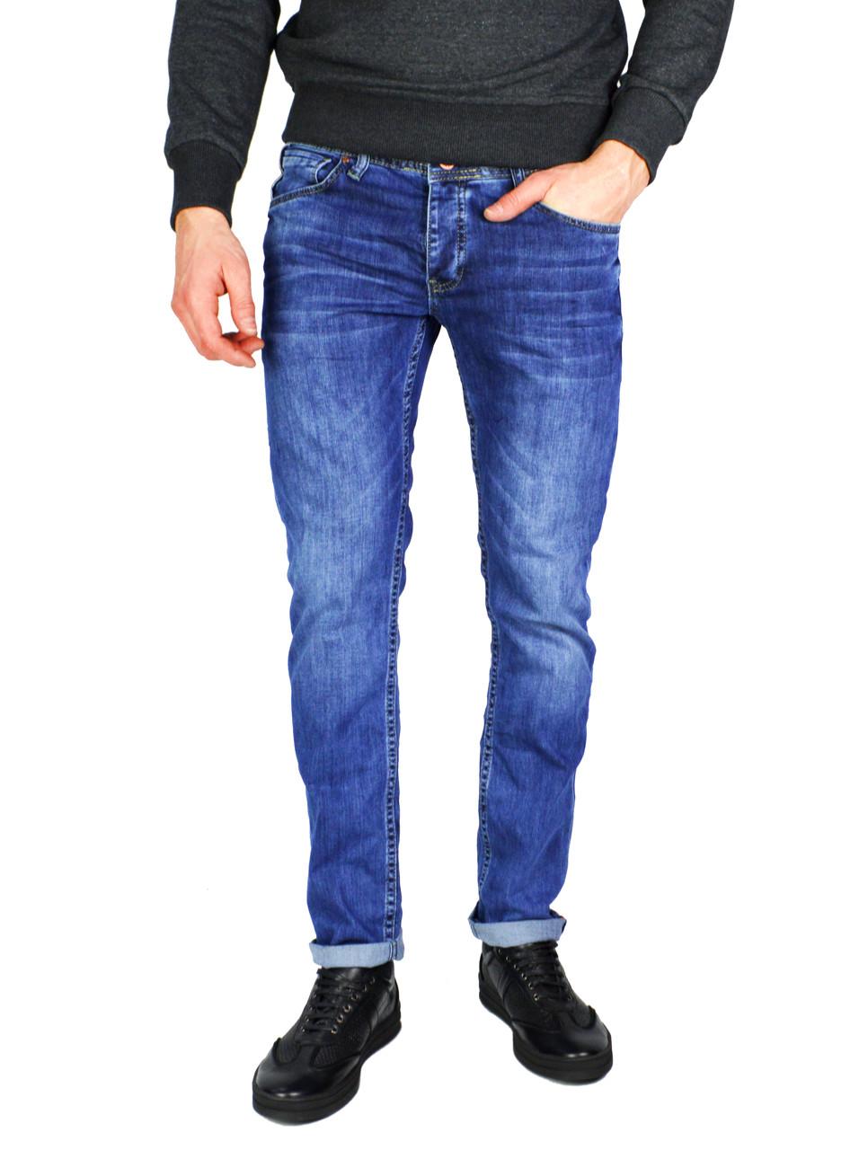 Синие мужские джинсы прямые с подворотом QUARTZ JEANS
