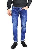 Синие мужские джинсы прямые с подворотом QUARTZ JEANS, фото 1