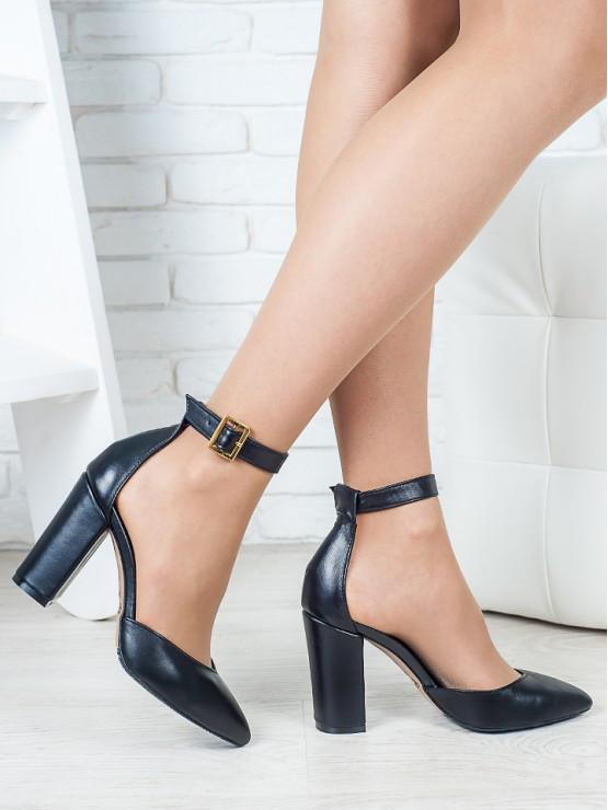 Женские босоножки-туфли натуральная кожа чёрные