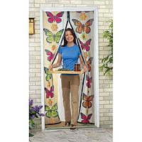 Москитная сетка на магнитах с бабочками