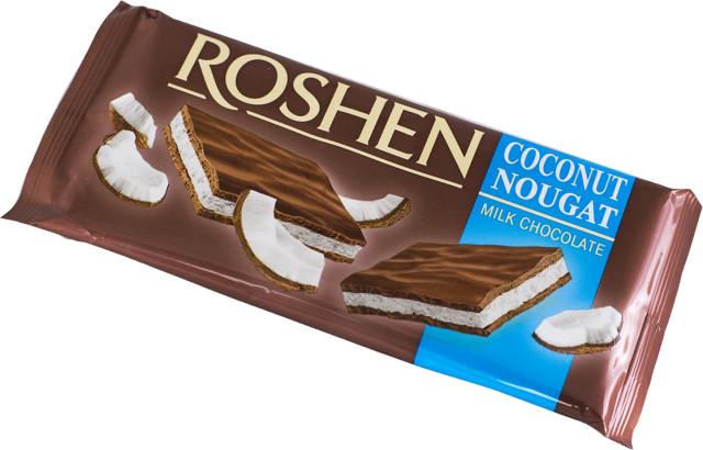 Шоколад молочный Рошен с кокосовой нугой 90г