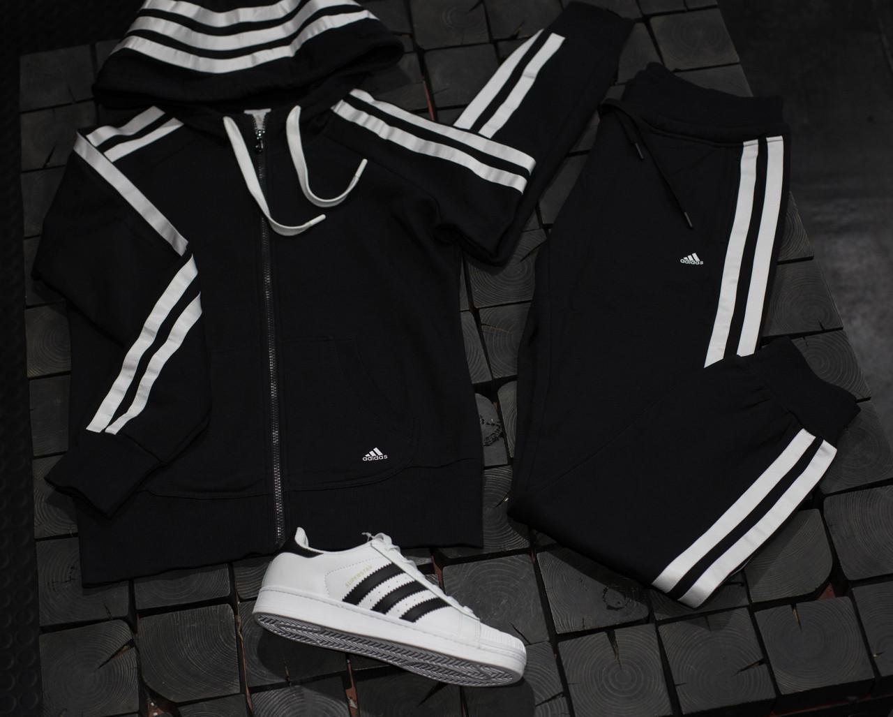 Женский спортивный костюм Adidas черный с белым