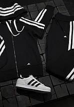 Женский спортивный костюм Adidas черный с белым , фото 2