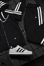 Женский спортивный костюм Adidas черный с белым , фото 3