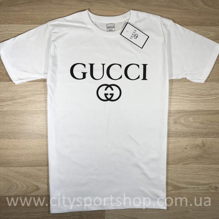 Футболка Gucci с принтом   белая   Бирка - Хайповый магаз. Supreme Thrasher  ASSC Palace 958e18052ec