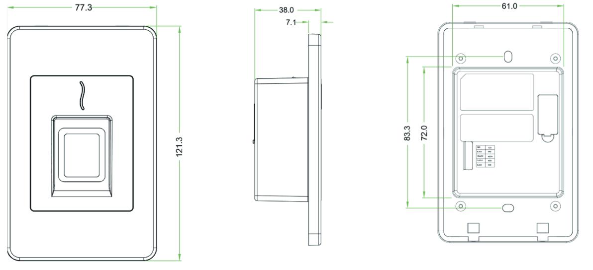 Схема размеров считівателя FR1500