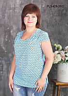 Женская летняя блуза больших размеров, цвет голубой, размер 52,56,60