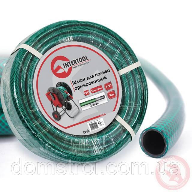 """Шланг для полива 3-х слойный 1/2"""", 50 м, армированный PVC INTERTOOL GE-4026"""