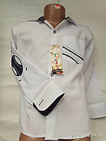 Рубашка белая со вставками от 5 до10 лет