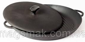 Чугунная сковорода гриль с прессом(круглая) 260х40 мм. Чугунная посуда Ситон