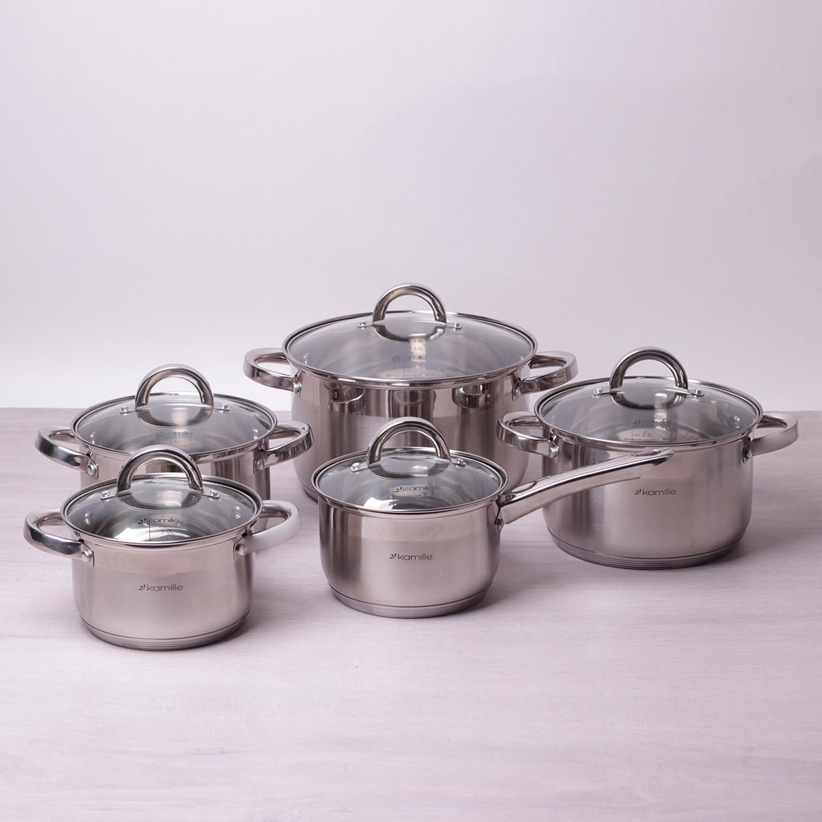 Набор посуды Kamille из нержавеющей стали: кастрюли (2.1л, 2.9л, 3.9л, 6.5л), ковш (2.1л)