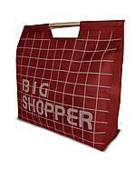 Сумка для покупок Шоппер с деревянными ручками красная