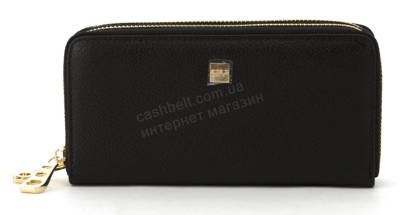 Кожаный прочный женский кошелек барсетка на две молнии SALFEITE art. 2547S черный
