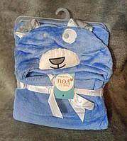 Полотенце-халатик для малышей Собачка голубое