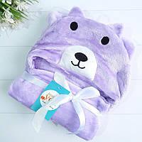 Полотенце-халатик для малышей Мишка фиолетовый
