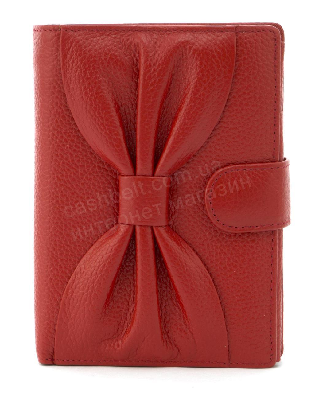 Небольшой женский кошелек бумажник с качественной натуральной кожи SALFEITE art.12200 красный