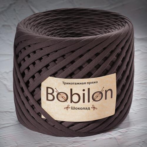 Трикотажная пряжа Bobilon Medium (7-9мм). Шоколад
