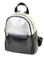 Рюкзак женский иск-кожа 27*20*11 черный/серебро 28961