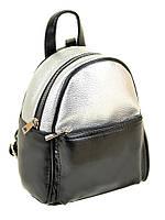 Рюкзак женский иск-кожа 19*24*12 черный/серебро 28971