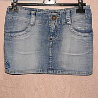 Bershka Джинсовая голубая мини-юбка, юбка бедровка, размер S