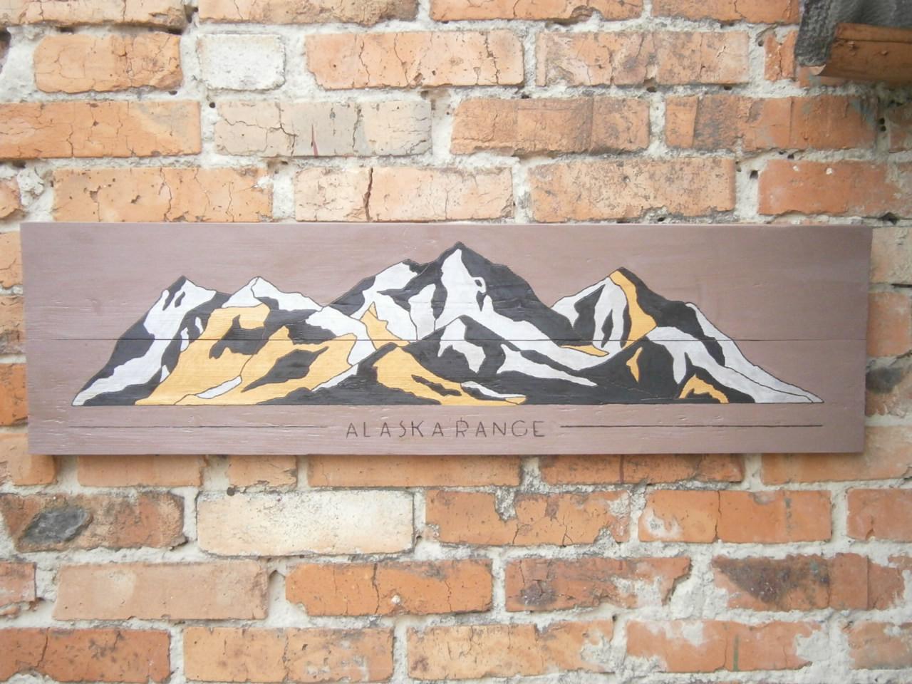 """Картина на досках  - """" ALASKA RENGE""""  95х26см.. В подарок бесплатная доставка."""