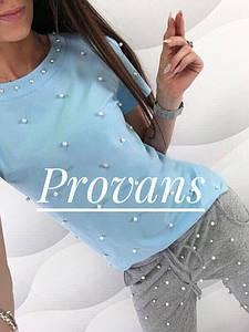 Женская футболка с бусинками ХИТ ПРОДАЖ!!!