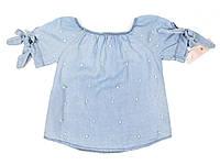 Блузка с жемчугом джинс