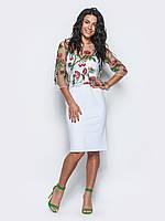 Коктейльное платье с кофтой из сетке с цветами 90275/3, фото 1