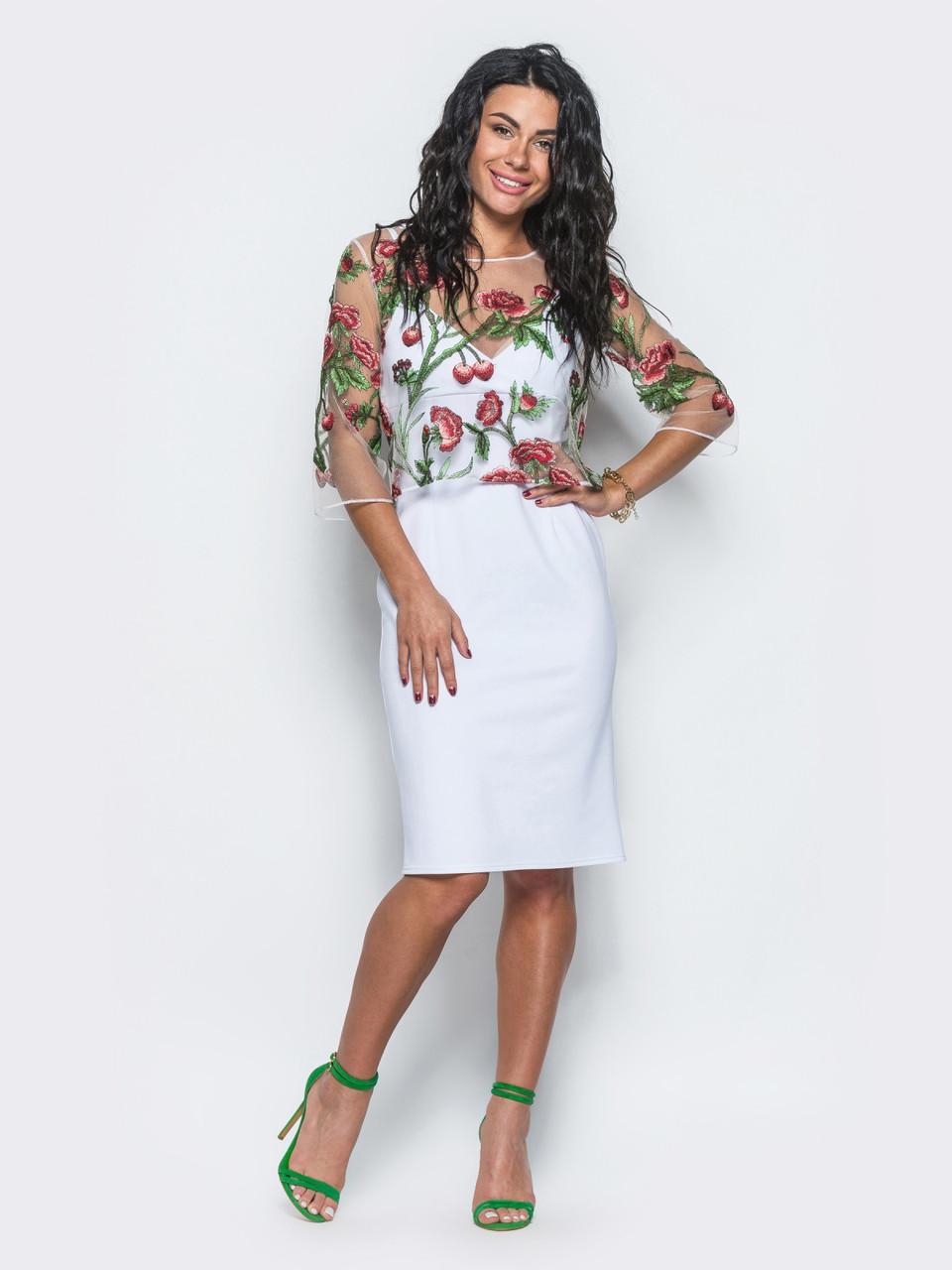 15fbe0d5a446ec8 Коктейльное платье с кофтой из сетке с цветами 90275/3 - My Oazis в Харькове