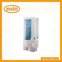 Дозатор для жидкого мыла одинарный пластик (сине-белый) 380 мл
