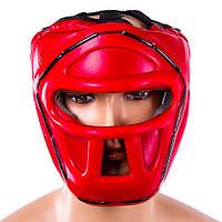 Шлем боксерский с пластиковой маской Everlast (р-р S-L, красный)
