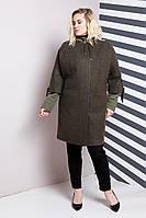 ЖенскаАЛЛО МОДАя куртка-пальто двойка 624 / размер 54,56,58,60,62 / большие размеры цвет хакки