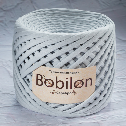 Трикотажная пряжа Bobilon Medium (7-9мм). Серебро