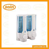 Дозатор для жидкого мыла двойной пластик (сине-белый) 760 мл