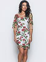 Яскраве, ошатне плаття з квітами на сітці 90273/1, фото 1