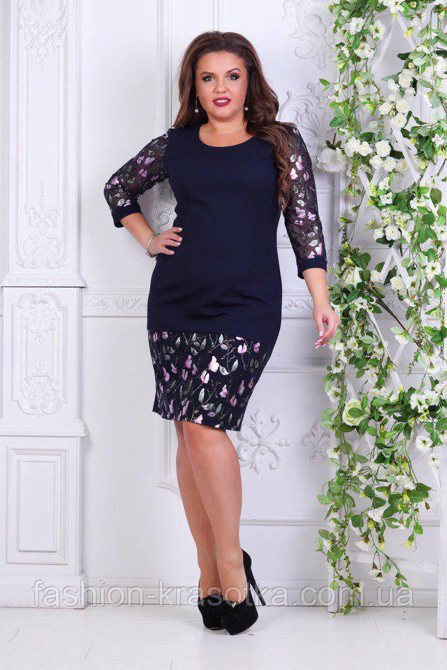 Модное молодежное платье Цветы в размерах 50-56