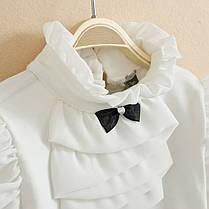 Блузки для девочек. Белая трикотажная блузка, фото 3