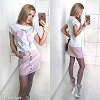 Джинсовая облегающая мини юбка на пуговицах