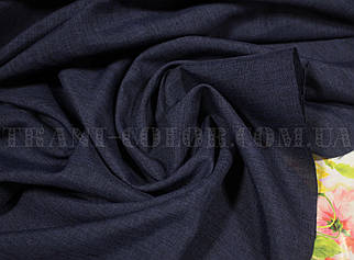 Костюмна тканина габардин льон темно-синій