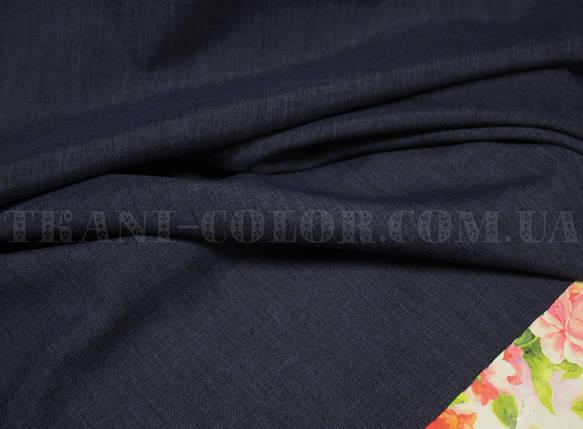 Костюмная ткань габардин лён темно-синий, фото 2
