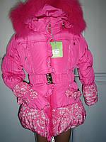 """Зимнее пальто для девочки """"Розы""""раз 92-см.дл.рук.от плеча-37см.дл.по спинке-49см."""