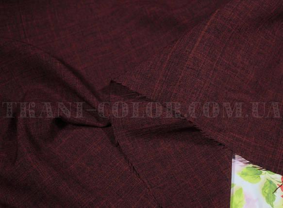 Костюмная ткань габардин лён бордовый, фото 2