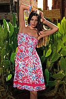d875c8f7acdfebf Розовое пляжное платье присбораное на резинку Vacanze Italiane IV 3011  42(S) Коралловый